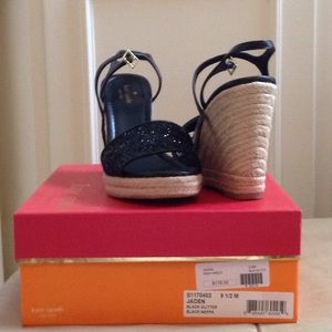 "Kate Spade black glitter sandals S91/2M  5""heel"